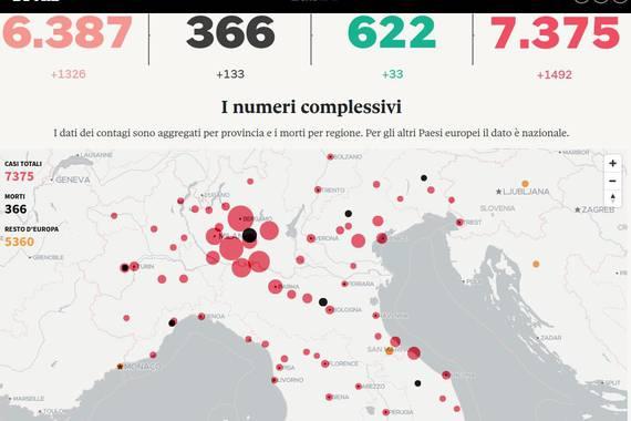 Italiako koronabirusaren mapa; irudikatu hurrengoa...