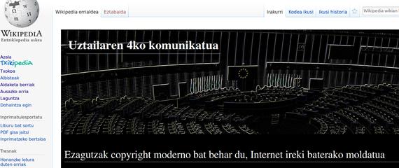 Europako Batasuneko copyright lege berriagatik protesta Wikipedian