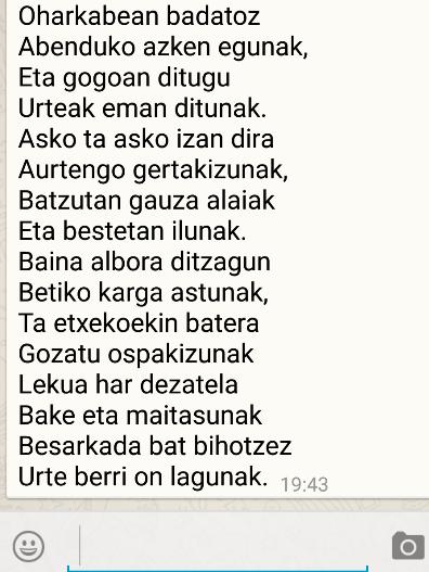 Poema birala WhatsApp-en, gertakari historikoa euskal letretan