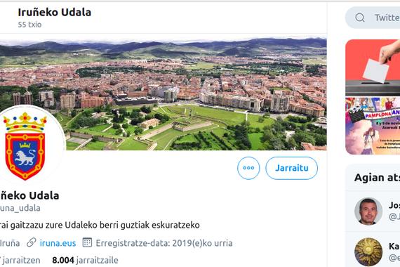 Iruñeko Udalaren euskarazko Twitter kontuak milaka jarraitzaile lortu ditu