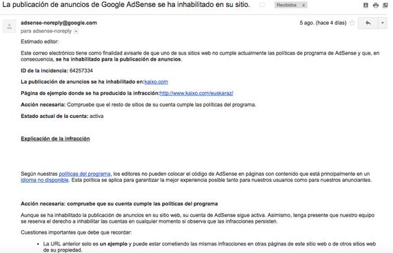 Kaixo.com Google Adsense-tik kanpo gelditu da euskarazko edukiak izateagatik