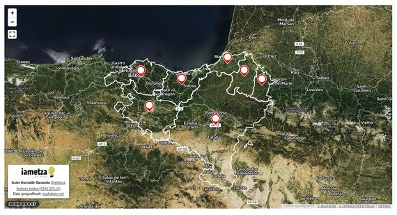 Euskal Herriko 7 herrialdeen erdigune geografikoak zeintzuk diren