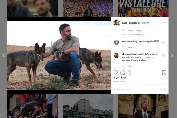 Santiago Abascalen jario instagramiko boteretsua