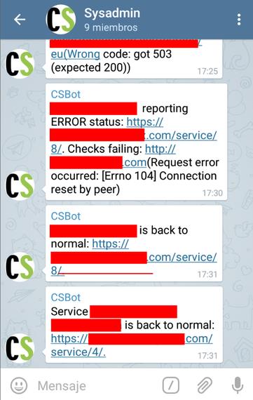 Telegram erabiltzen webguneak martxan daudela jakiteko