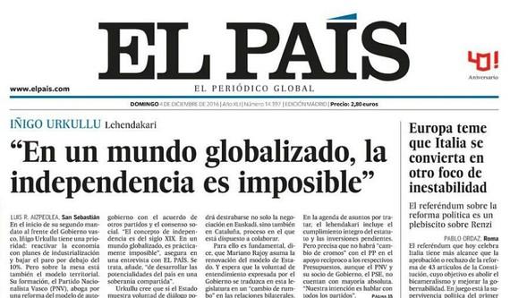 """Urkullu: """"Mundu globalizatuan, independentzia ezinezkoa da"""""""