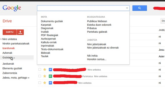 Google Drive euskaraz dago jada, ezarpenetan hauta daiteke hizkuntza