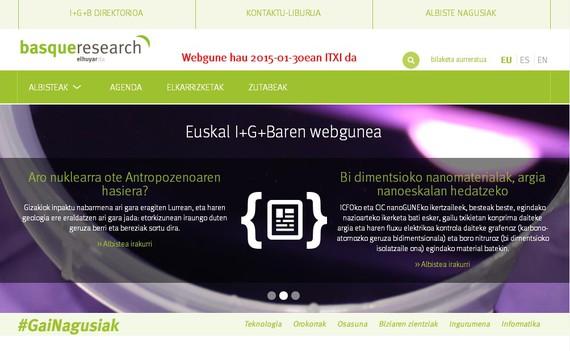 Basque Research webgunearen agurra