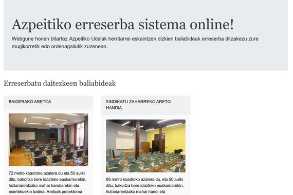 Erreserba sistema online, Azpeitiko udalarentzat