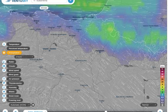 Ventusky, kalitate grafiko handiko eguraldi mapa
