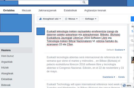 Facebook-ek euskarazko itzultzaile automatiko bat jarri du orrialde-kudeaketan