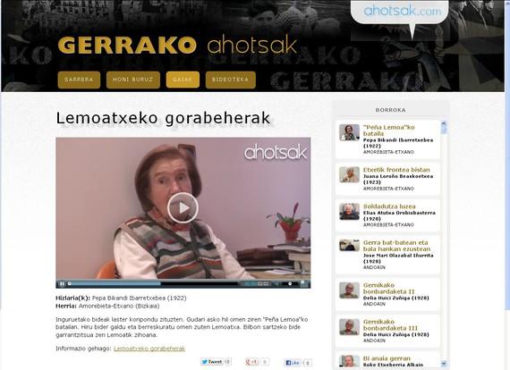 Gerrako Ahotsak: 36ko gerraren inguruko lekukotasunen webgune berria