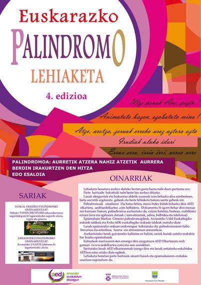 Euskarazko Palindromoen 4. lehiaketa deitu du AED elkarteak