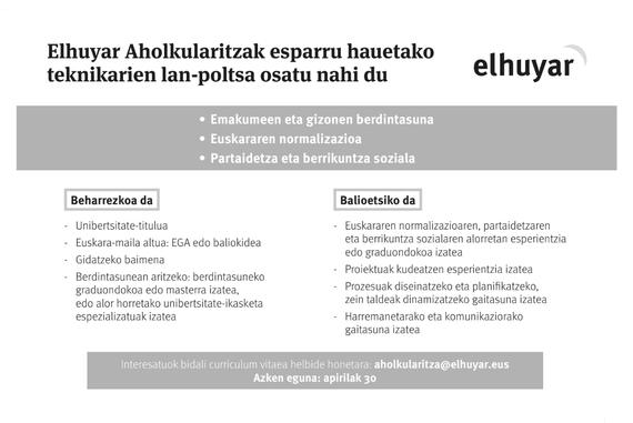 Lan-poltsa osatzeko deia egin du Elhuyar Aholkularitzak
