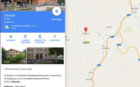 Googleren mapa berriak eta toponimo ofizialak