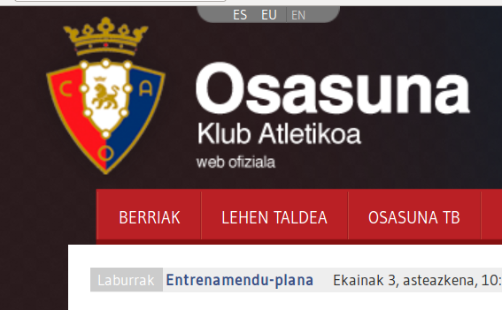 Osasuna futbol taldea: webgune ofiziala orain euskaraz