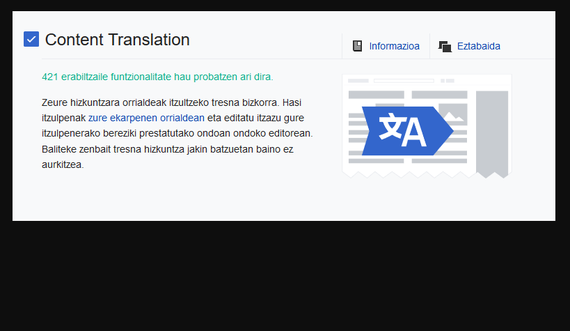 """""""Matxin"""" itzultzaile automatikoa integratu dute Wikipedian"""