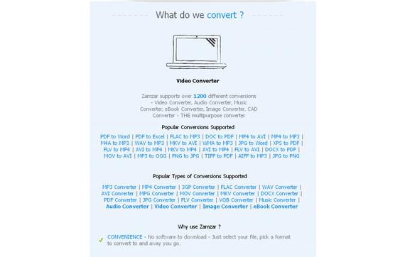 Zamzar: fitxategiak hainbat formatutara kobertitzeko aplikazioa