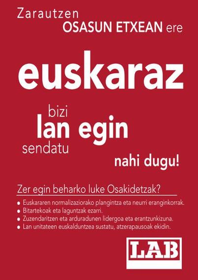 Zarauzko osasun etxean ere euskaraz bizi eta lan egin nahi dugu!