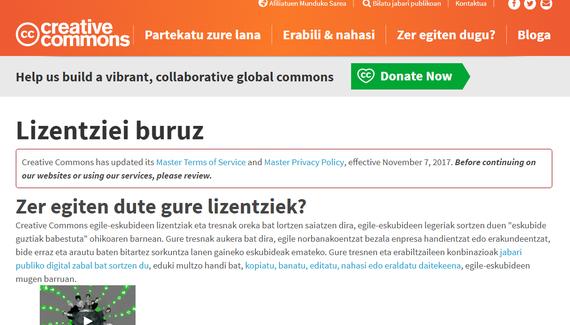 GPL eta Creative Commons lizentziak euskaraz daude orain