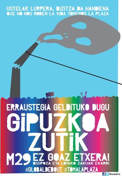 Gipuzkoa Zutik: Donostiako plaza batean 'Occupy' kanpaldia egiteko deia